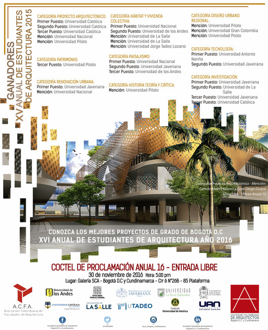 Proclamación XVI Anual de Estudiantes de Arquitectura. Bogotá, Cortesía de Unknown