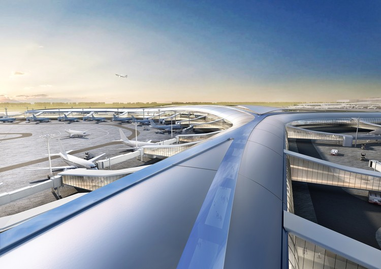 Aedas Wins Two International Competitions to Design Airports in Shenzhen and Hong Kong, Shenzhen Airport Satellite Concourse, China, by Aedas. Image Courtesy of Aedas