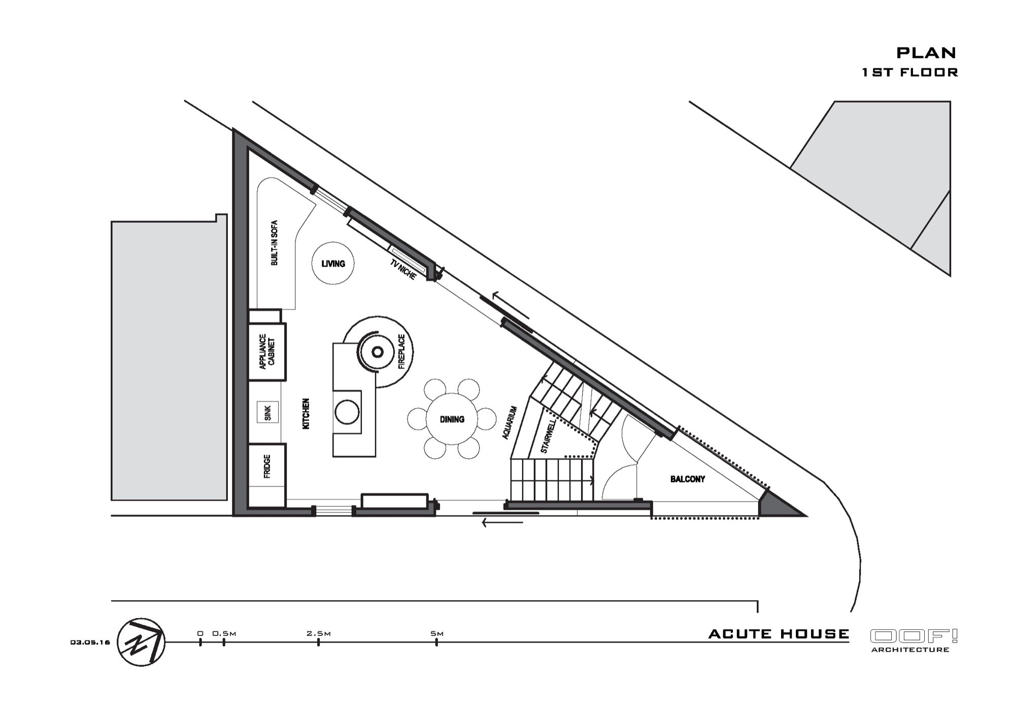 Gallery of the acute house oof architecture 17 for Triangular house floor plans