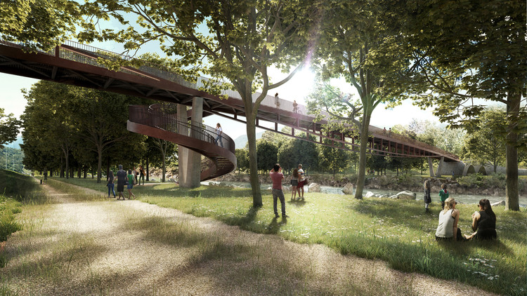 AZPML + DFN Win Competition for Rippling Bridge in Bellinzona, Switzerland, Spring Perspective. Image Courtesy of AZPML