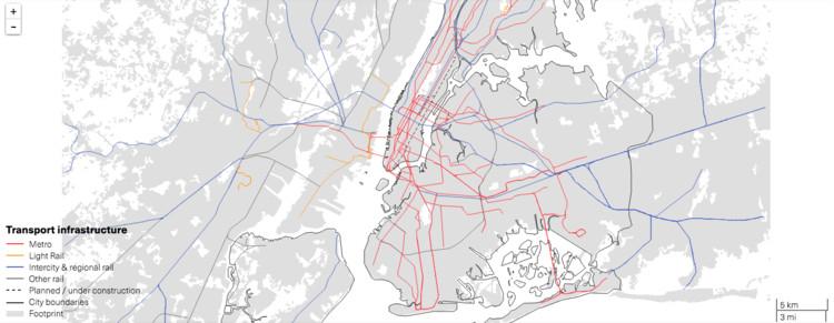 Mapas: cobertura de 12 sistemas de transporte público del mundo y cómo influyen en la movilidad urbana, Nueva York, Estados Unidos. Image © LSE Cities