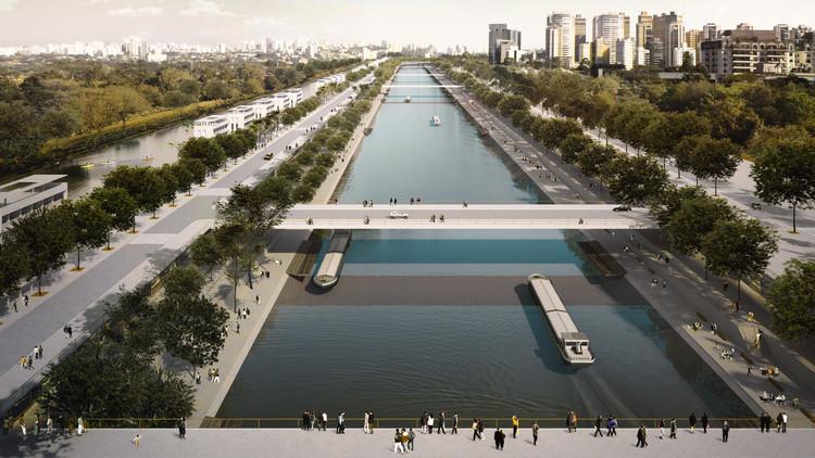 São Paulo: Metrópole fluvial / Eloísa Balieiro Ikeda, Canal Pinheiros na altura da raia olímpica da USP. Fotomontagem da proposta. . Image © Bhakta Krpa