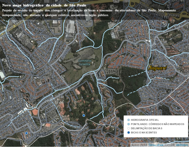 Hezbolago: uma nova cartografia fluvial de São Paulo, Nascentes e córregos não mapeados oficialmente em trecho da bacia do córrego Jaguaré. Fonte: Novo mapa hidrográfico da cidade de São Paulo. Via Hezbolago