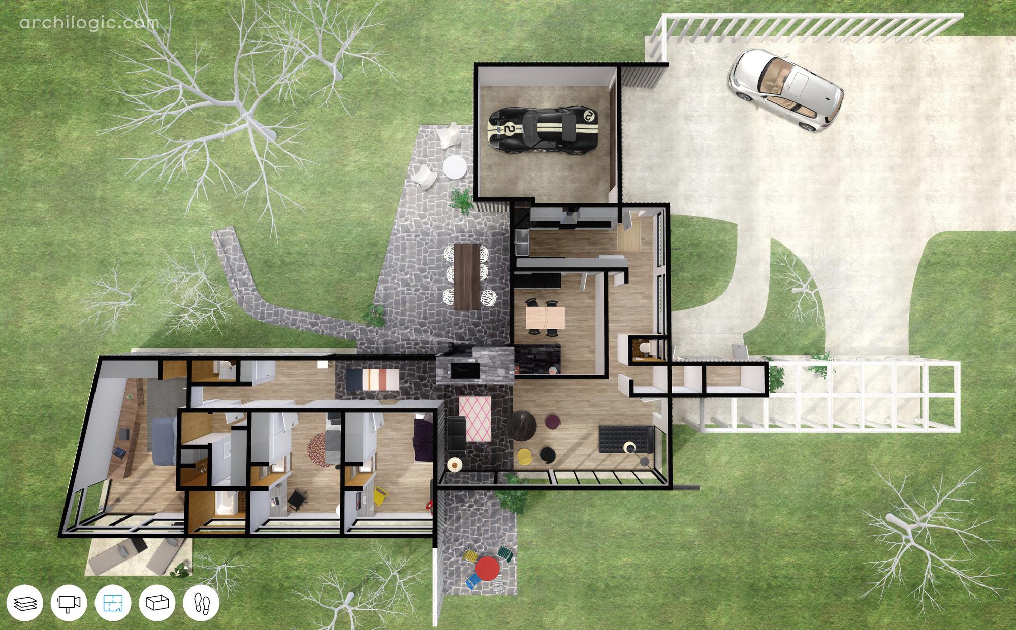 583de050e58ecefe37000073 A Virtual Look Into Richard Neutras Unbuilt Case Study House Number 13 The Alpha House Image on Small Salon Floor Plans