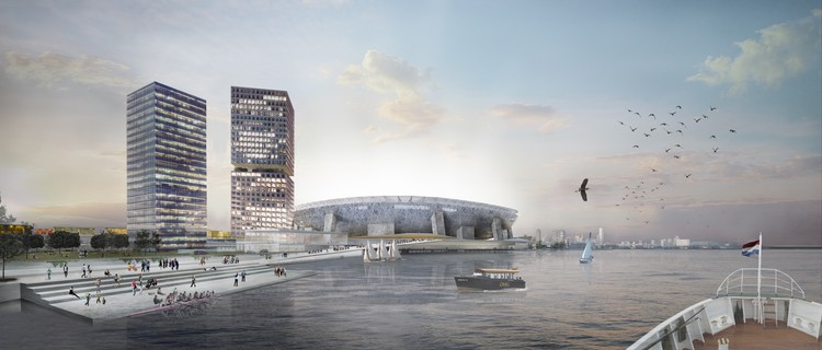 Aprueban plan maestro de OMA para el equipo Feyenoord Rotterdam en Holanda, Vista desde el río. Imagen © OMA