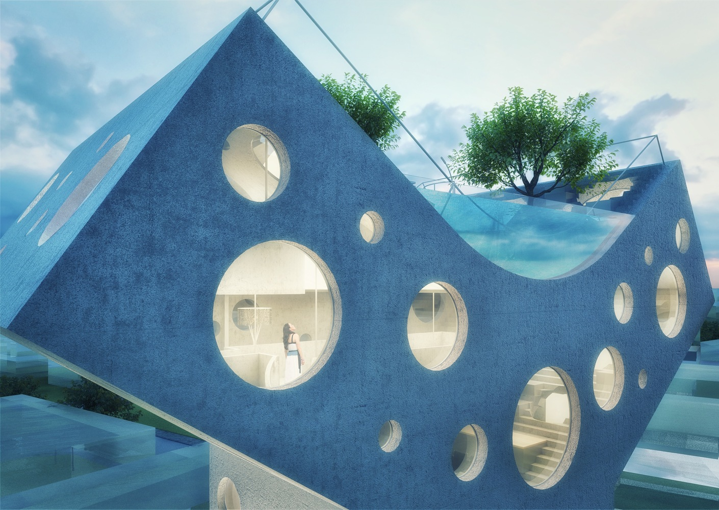 MVRDV have designed a Y-shaped house with a rooftop pool for Taiwan 36