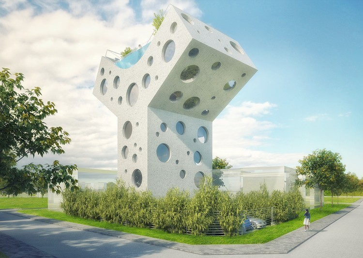 MVRDV Designs Y-Shaped House with Rooftop Pool in Taiwan, Courtesy of MVRDV