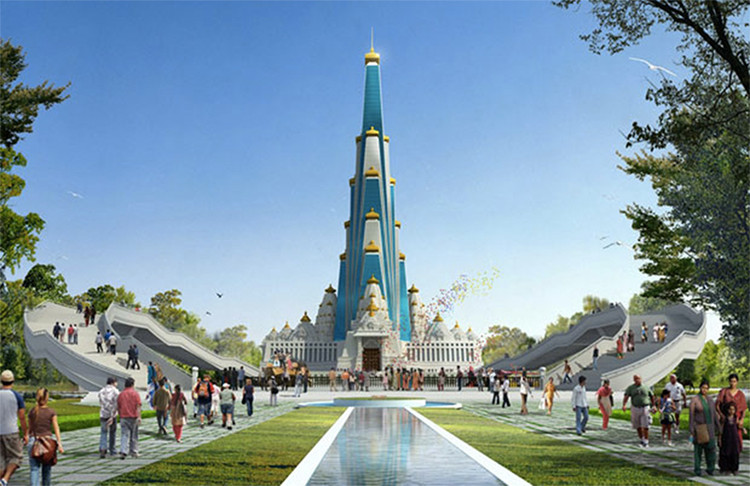 Construction Begins on World's Tallest Religious Building, Courtesy of Vrindavan Chandrodaya Mandir, InGenious Studio