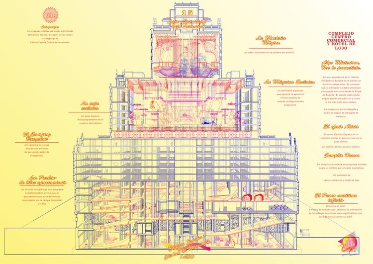PFC: proponen convertir el Edificio España en una ciudad de vacaciones, PFC: Edificio España, ciudad de vacaciones. Image Cortesía de Andrea Gonzalez