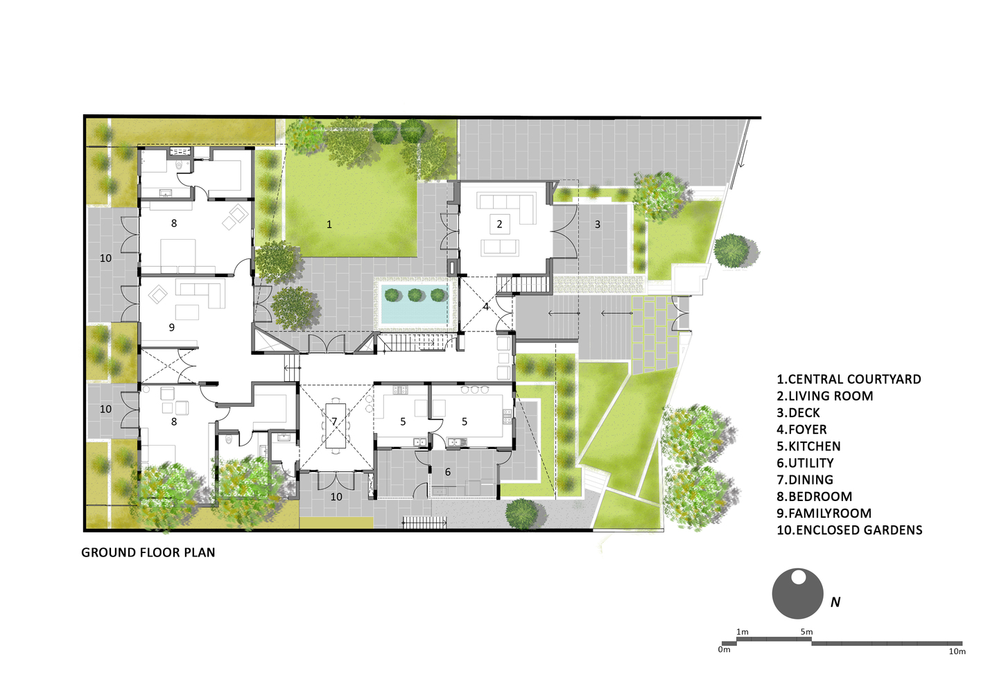 Courtyard houseground floor plan