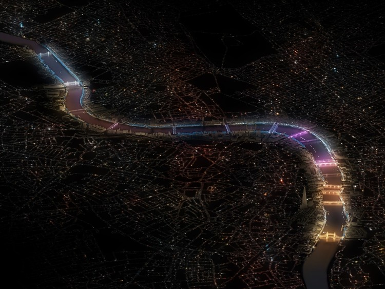 Leo Villareal + Lifschutz Davidson Sandilands Wins London's Illuminated River Competition, Current / Leo Villareal with Lifschutz Davidson Sandilands and Future\Pace. Image © Malcolm Reading Consultants and Leo Villareal and Lifschutz Davidson Sandilands