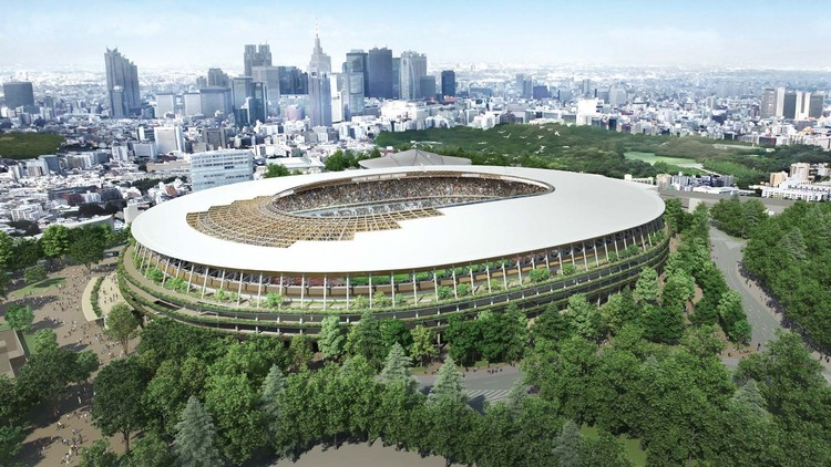 Estadio Olímpico de Kengo Kuma para Tokio 2020 comienza su construcción, © Japan Sports Council / via Curbed