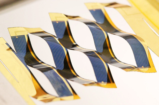 "<a href='http://www.archdaily.com/773657/researchers-increase-the-power-of-solar-energy-through-the-ancient-japanese-art-of-kirigami'>""Kirigami""-inspired solar panels developed at the University of Michigan</a>. Image via Inhabitat"