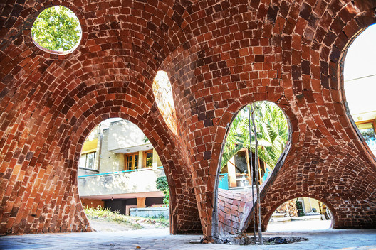 "<a href='http://www.archdaily.com/794947/young-architects-design-and-build-irans-first-free-form-brick-structure'>""FaBRICKate"" structure in Iran</a> by ADAPt. Image Courtesy of ADAPt"