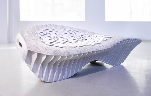A bench developed by Terreform ONE and Genspace <a href='http://www.archdaily.com/779655/terreform-ones-biological-benches-question-traditional-manufacturing-methods'>created using bioplastics</a>. Image © Terreform ONE