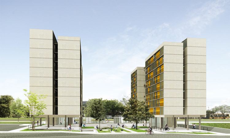 1º Lugar no concurso CODHAB-DF para edifícios de uso misto em Santa Maria/DF, © Estúdio Gamboa de Arquitetura