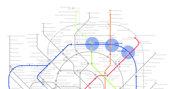 Open International Competition for 3 Moscow Metro Stations , Moscow Metrostation Map