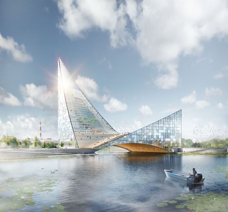 Piarena Designs Sail-Inspired Congress Hall Spanning Over Russian River, Courtesy of PIARENA