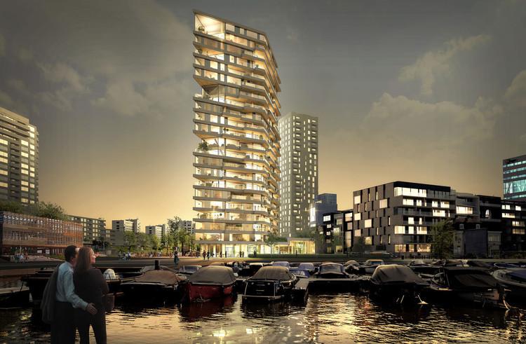 """Nova """"cola"""" molecular pode contribuir para edificações em madeira ainda mais altas, HAUT, a proposed 240-foot timber-framed tower to be built in Amsterdam. Image Cortesia de Team V Architectuur"""