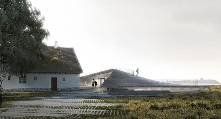 Arkitema Architects diseña un Centro de Visitantes para el Parque Nacional Mols Bjerge en Dinamarca, Perspectiva Norte. Imagen Cortesía de Arkitema Architects