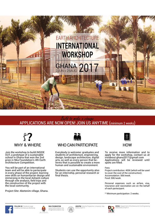 Earth Architecture International Workshop, Ghana 2017, InsideOut Workshop Flyer © Francesca Vittorini, Andrea Tabocchini