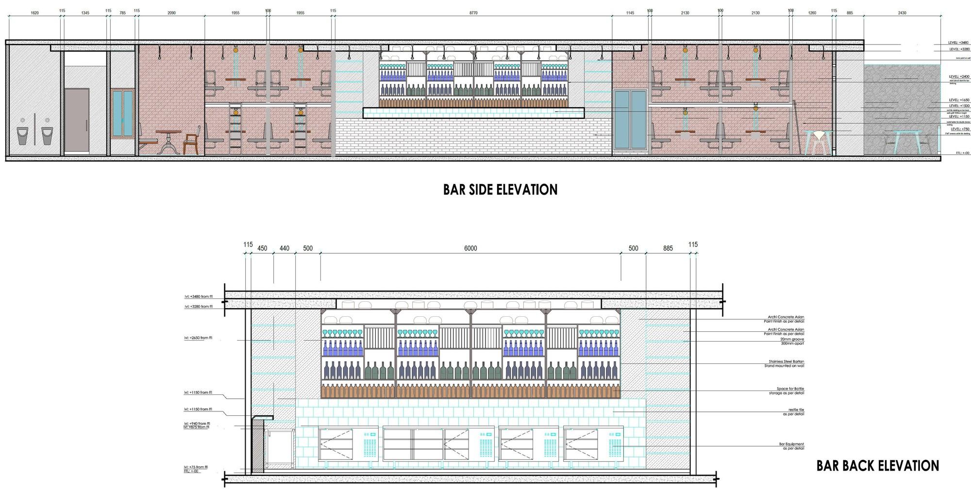 Front Elevation Side Elevation : Gallery of cyber hub social chromed design studio