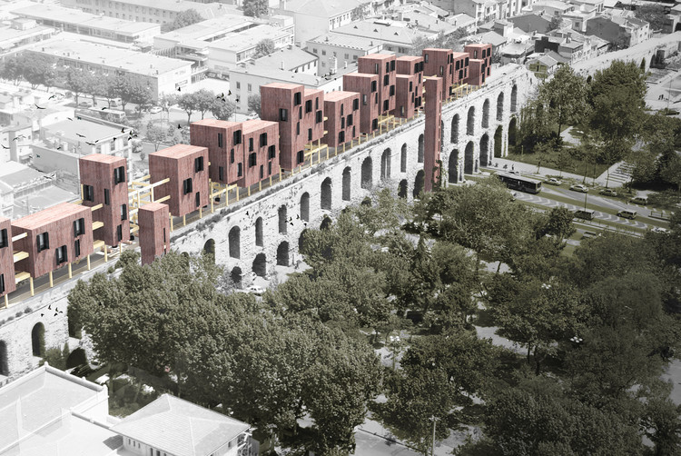 Competition-Winning Design Proposes Wood Housing Addition to Fourth-Century Aqueduct  in Istanbul, Courtesy of Superspace