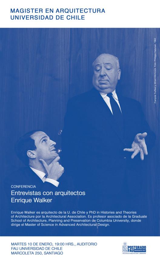 Conferencia Enrique Walker 'Entrevistas con Arquitectos' / Magister en Arquitectura FAU, François Truffaut y Alfred Hitchcock. Foto: Philippe Halsman, 1962