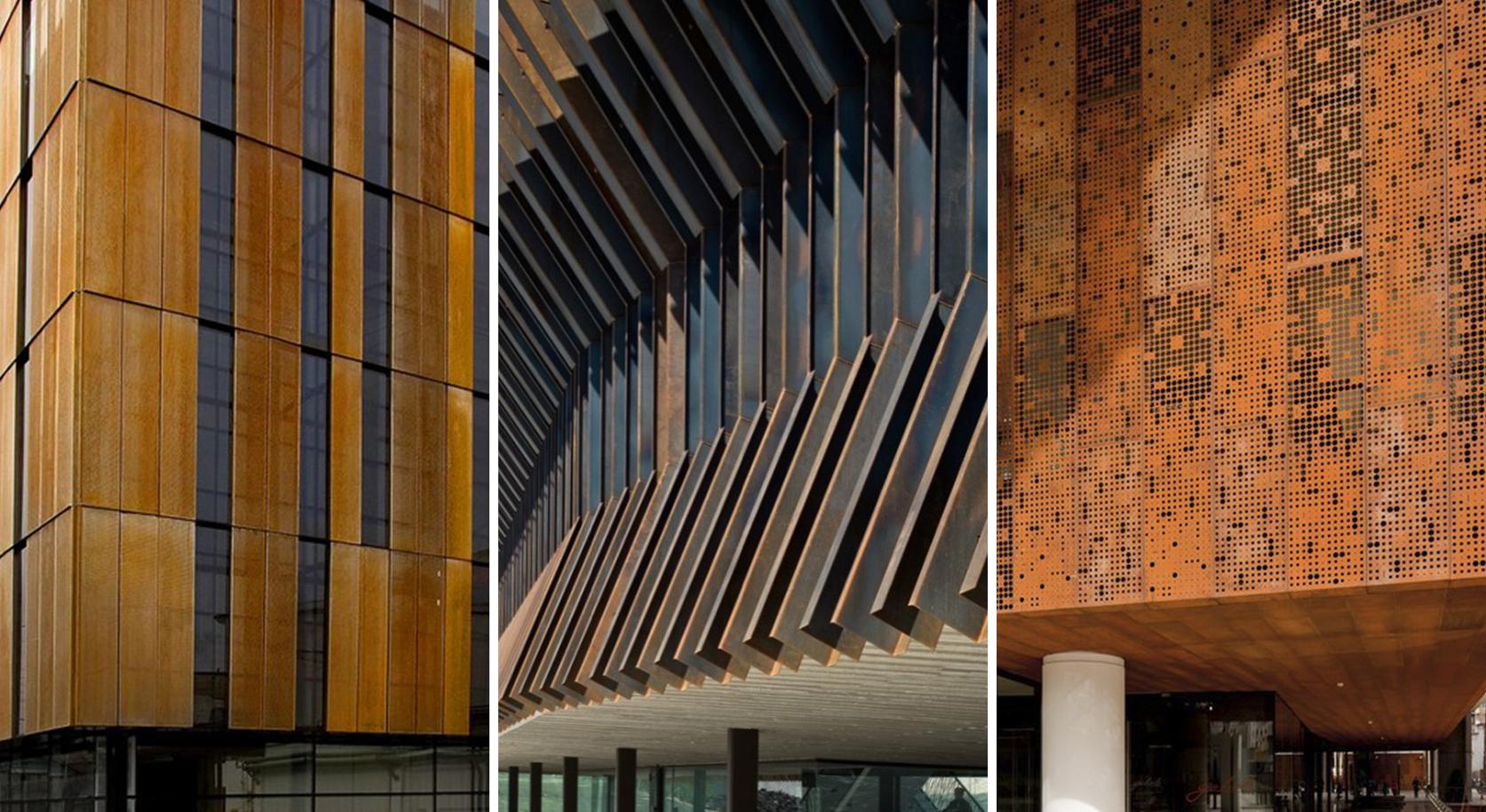 Detalles constructivos de arquitectura en acero corten for Acero corten perforado oxidado