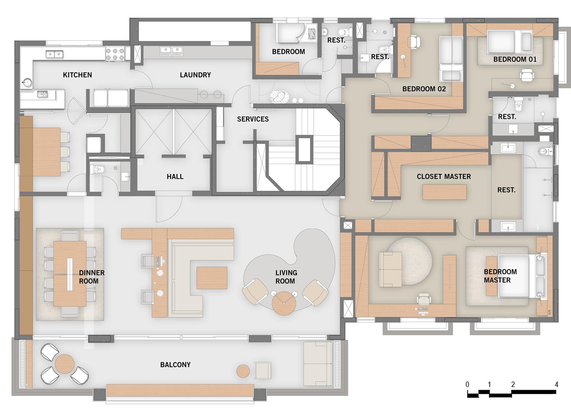 Galeria de apartamento jardim europa perkins will 20 for Maison moderne de luxe plan