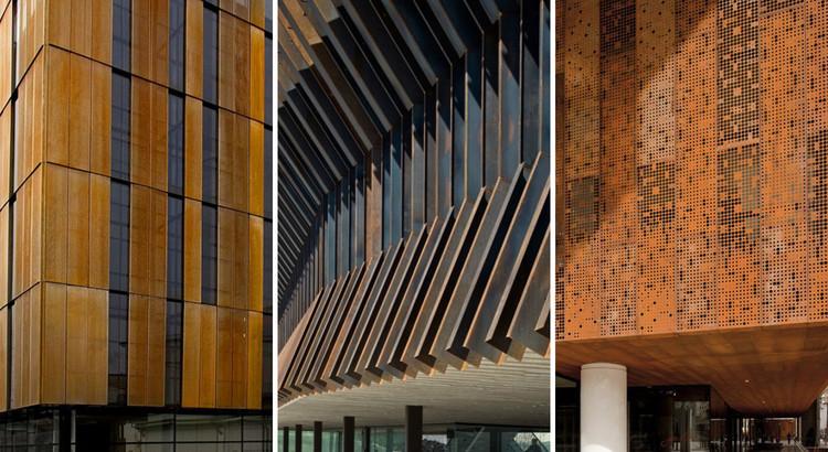 Detalhes construtivos de arquitetura em aço corten