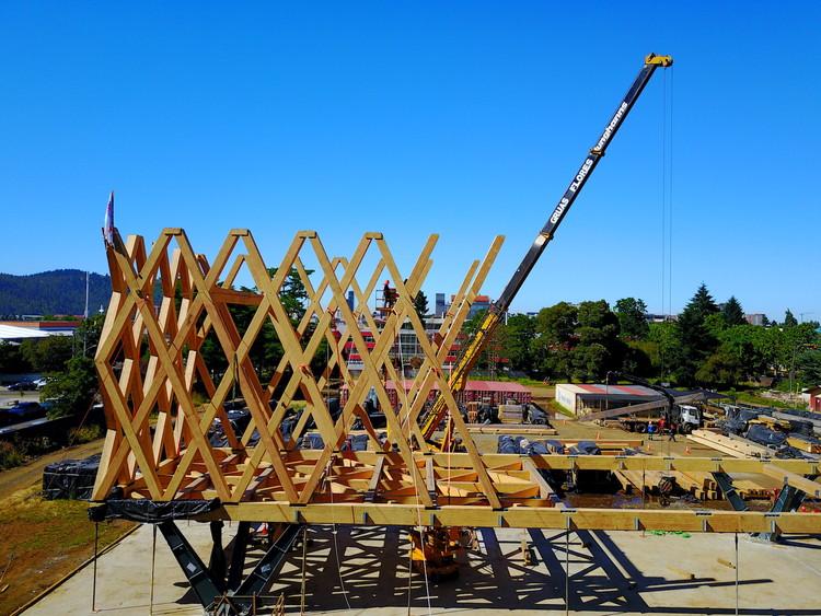 Mira cómo avanza la (re)construcción del Pabellón de Chile en la Expo Milán 2015 en Temuco, Cortesía de Chile Expo Milán