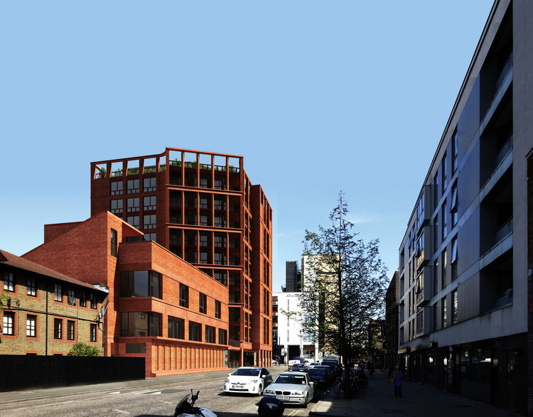 Henley Halebrown Releases New Images of Mixed Use School in London, Looking east along Downham Road. Image Courtesy of Henley Halebrown