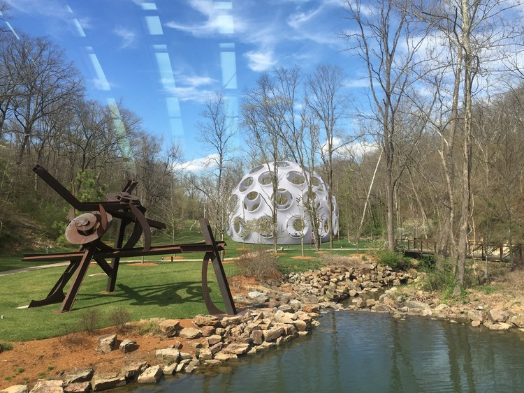 "50-Foot-Tall Buckminster Fuller ""Fly's Eye"" Dome to Be Erected in Arkansas, 3D computer rendering of Buckminster's Fly's Eye Dome as it will appear on the North Lawn at Crystal Bridges Museum of American Art. (View from Early 20th Century Gallery Bridge.). Image Courtesy of Crystal Bridges Museum of American Art"