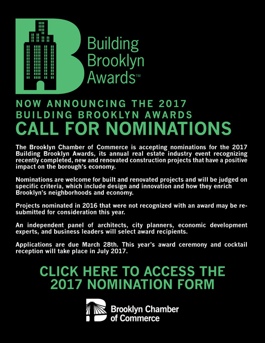 Call for Nominations: Building Brooklyn Awards, Accepting Nominations for 2017 Building Brooklyn Awards