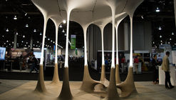 Autodesk's Generative Design Pavilion Plays with Properties and Fabrication Processes in Stone and Fabric