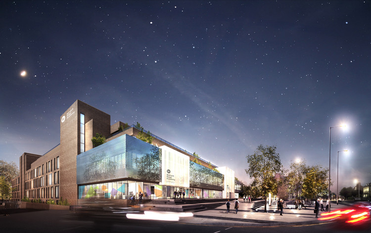 Architecture Initiative Transforms Derelict Brutalist Northampton Landmark into Mixed-Use Academy, Proposed public plaza at night. Image Courtesy of Architecture Initiative