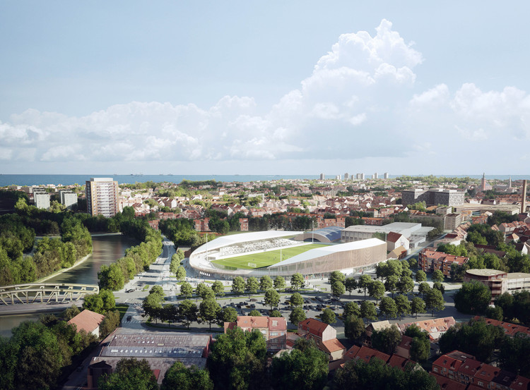 Competition Winning Stadium Design Promotes Inclusivity in Dunkirk, France, The stadium is located in the heart of Dunkirk. Image Courtesy of Viktor Fretyán
