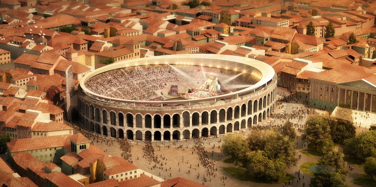 A Roof for Verona's Roman Amphitheater – Competition Winners Announced, Winning proposal by GMP. Image Courtesy of City of Verona Press Office