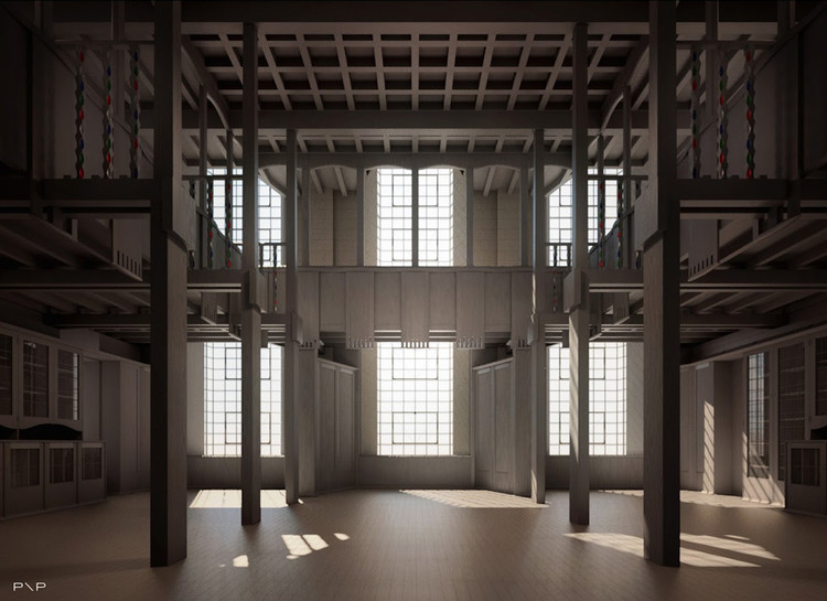 Full-Scale Prototype to be Erected as Part of Glasgow School of Art Restoration Project, Vizualisation of the library. Image Courtesy of Page\Park