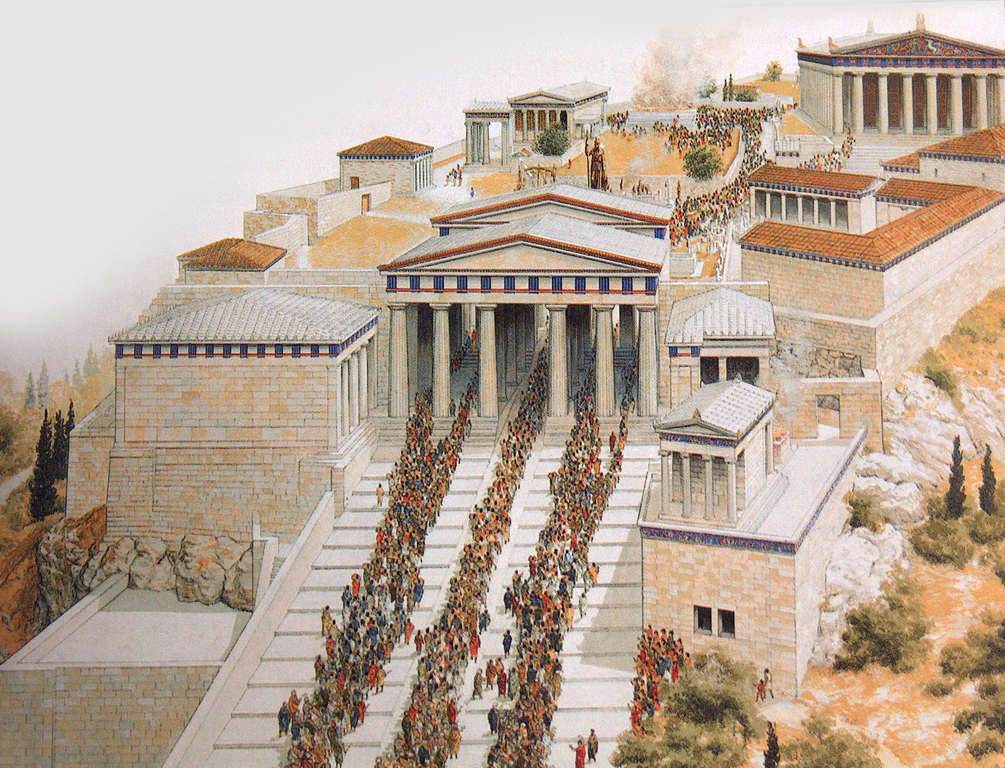 Throngs Make Their Way Up The Causeway To Acropolis In This Artistic Imagining Of
