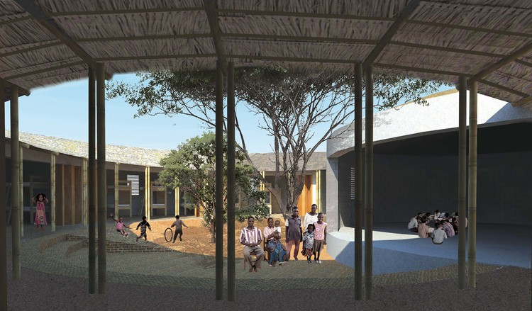 An Eco-Village for Orphaned Kenyan Children - Competition Winners Announced , Orphanage Home Courtyard. Image Courtesy of ClarkeHopkinsClarke