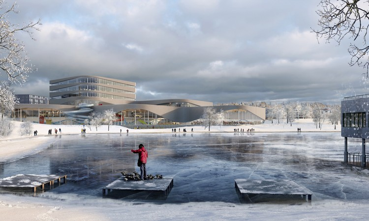 3XN Architects Wins Competition for New Aquatic Center in Sweden, Winter View. Image Courtesy of 3XN