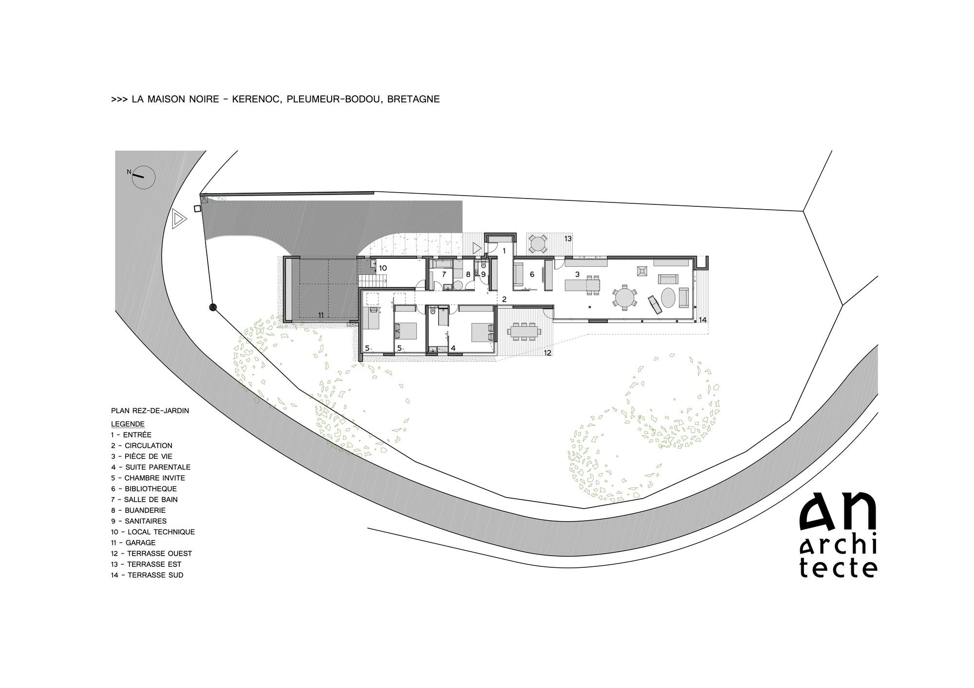 Gallery Of La Maison Noire Agence AnArchitecte - Plan maison entree sud