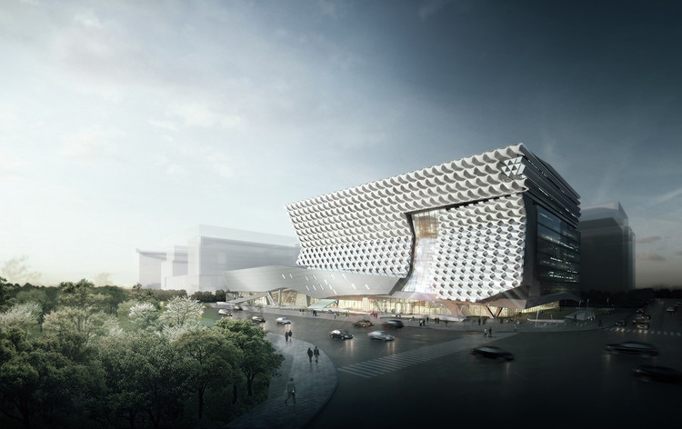 Morphosis Employs Fiber-Reinforced Facade for Kolon Headquarters in Seoul, Exterior Perspective. Image © Morphosis Architects