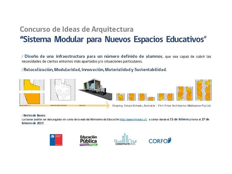 Convocatoria concurso de ideas: 'Sistema modular para nuevos espacios educativos'