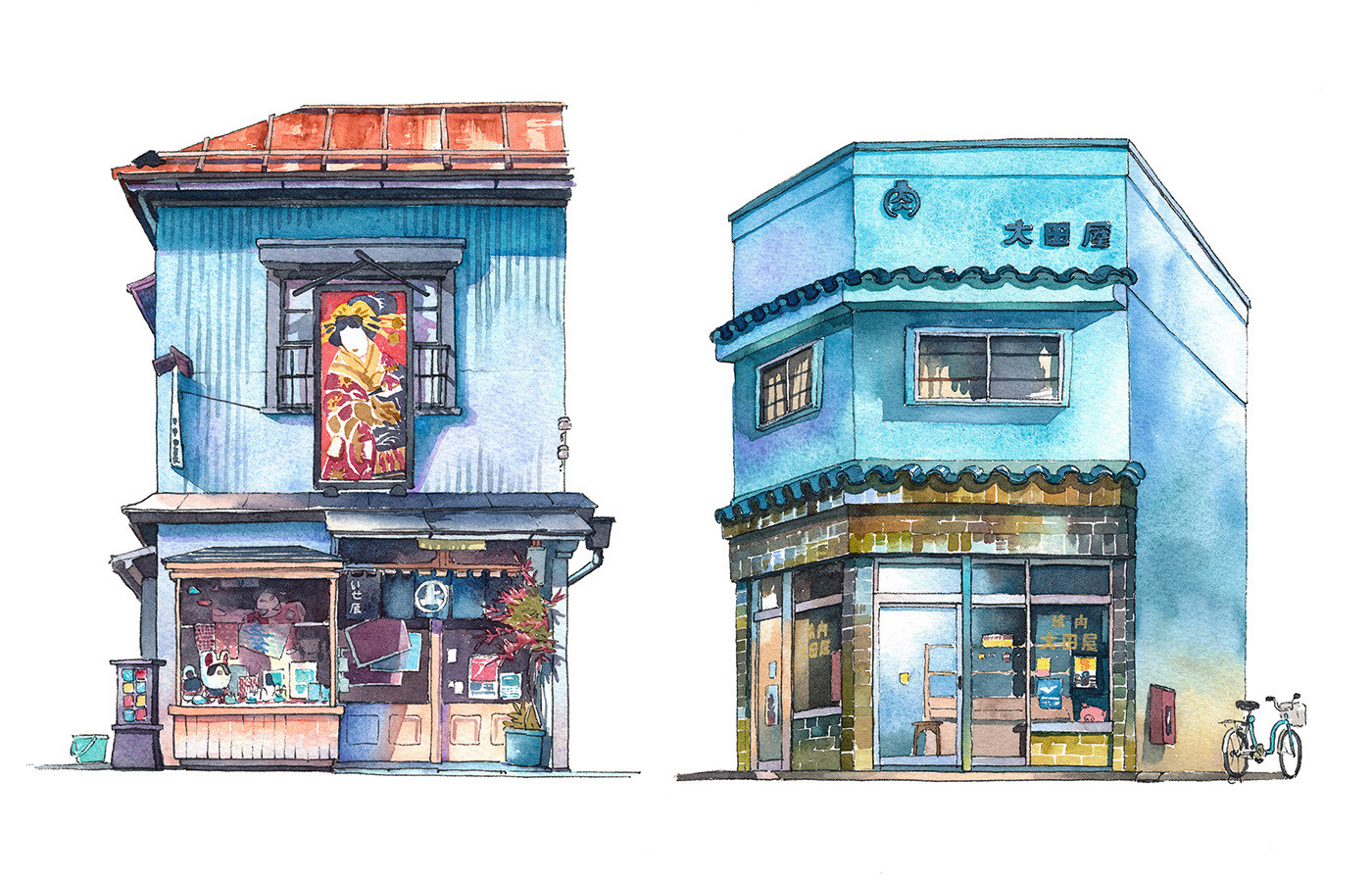 These watercolors capture the unsung architecture of tokyo for Art et architecture
