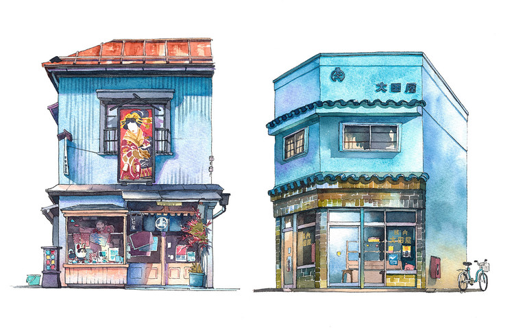 These Watercolors Capture the Unsung Architecture of Tokyo's Eclectic Storefronts, Isetatsu traditional color woodblock print store from Yanaka district and Ootoya meat shop from Koujimachi district. Image © Mateusz Urbanowicz