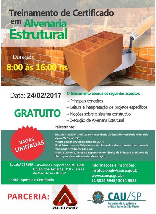 """Curso Gratuito - ACERVIR """"Alvenaria Estrutural"""""""