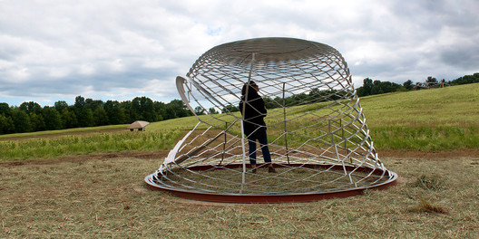 X-POD 138 pavilion structure, currently installed at the Omi International Arts Center in Ghent, New York. Image Courtesy of Haresh Lalvani